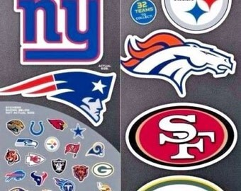 Complete Set 32 Officially Licensed NFL Football Logo Stickers Decal Logo Helmet Cowboys Steelers Raiders Giants Lions Texans Dolphins Bears