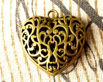 Heart hollow bronze charm vintage style jewellery supplies C102