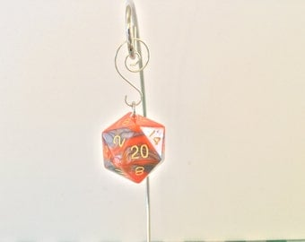 Orange and Grey Mega D20 Dice Christmas Ornament / Pendant