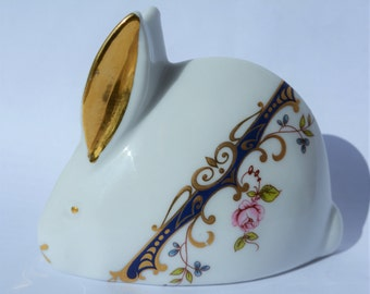 Vintage Limoges Bunny Rabbit White with flowers and gold_Rabbit Collectibles_Ceramic Rabbit_Bunny Rabbit Decor