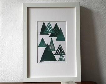 Forest tree blockprint, green triangles, linocut print, original artwork, modern abstract art, minimalistic pattern, scandinavian design