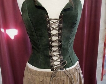 Corset laced, medieval leather jacket