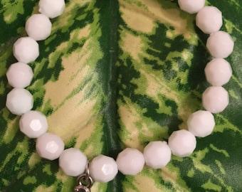 White Beaded Turtle Bracelet