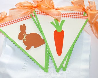 Easter decoration / flags rabbit and carrot - orange and green paper Garland