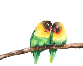 Original Love Bird Watercolor Painting // Gift for Her // Valentine's Day Gift // Bird Art // 9 x 12 // Unframed