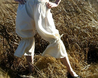 Tumbleweed Bloomers - Cream 100% Cotton Muslin - Prairie Pantaloons Pants - Adult / Women's Custom-Made - Moth & Rust Handmade in Kansas