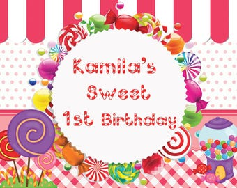 Candy Land Birthday Banner , Candy Land Party , Candy shoppe Poster ,  Candyland Birthday Backdrop , Sweet Candy Shoppe Party  ;10000344