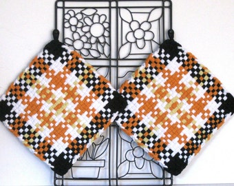 GK's Kitchen - One Pair - Orange Black and White Plaid Potholders.   Item # GK's Kitchen - Fall 00304