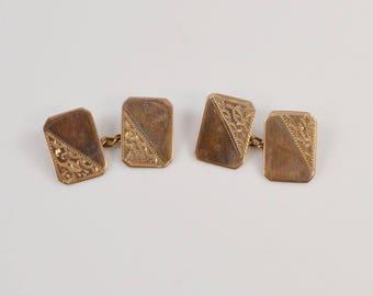 10k Yellow Gold Vintage Estate Incised Cufflinks(01183)