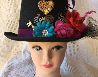 Steampunk Tophat Black with Multi-color Flowers and Pink Peacock and Feathers Women's Cosplay