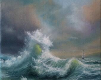 "Original Oil Painting ""WHITE WAVE"""