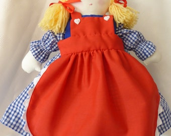 Individually handmade rag doll and clothes