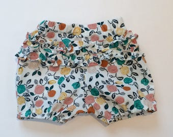 "Eddie & Bee organic cotton ruffle bum bloomers in ""cream roses"" print"