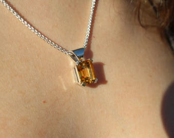 Sterling Silver And 8.01 ct Natural Citrine
