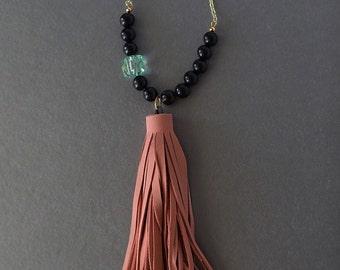 Handmade Beaded Leather Tassel