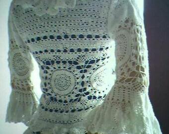 CROCHET WOMENS SWEATER, Sweater, crochet lace sweater, Womens sweater, Crochet Boho chic sweater Bohemian sweater, lace sweater, beachcover