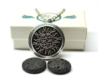 Celtic Sun Lava Stone Locket Essential Oil Diffuser Necklace // Aromatherapy Necklace // - With Choice of Essential Oil