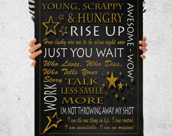 Hamilton Musical Poster, Quote Print, Word Art, Word Cloud, Posters and Prints