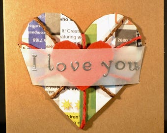 I Love You ... Newspaper Heart in Brown