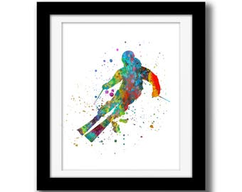 SALE - Wall Art Print Watercolor Printable Art - Skier Wall Art Download - Modern Wall Decor - Skier Print - Watercolor Paint Splatter Art