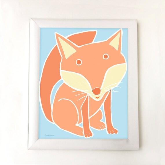 Woodland fox art for nursery, bedroom or playroom,  baby gift, children's decor, kids room art, fox illustration, fox art, kid's wall decor