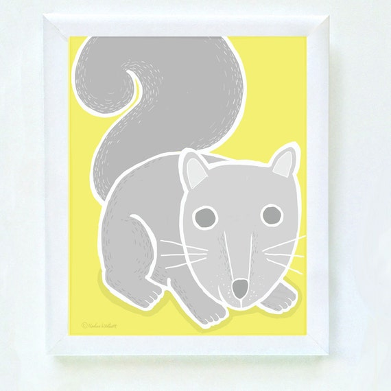 Woodland squirrel print for nursery or bedroom wall, gray squirrel, art for kid's walls, squirrel art, kid's decor, gray, yellow