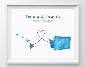 Two State Guest Book - Choose your cities and states.  The wedding guestbook is great for long distance courtships and cross country love.
