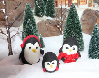 Handcrafted Needle Felted Wool Christmas Animals - Penguin Family
