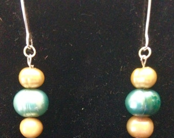 Blue and Gold Freshwater Pearl Drop Earrings