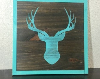 """Rustic/farmhouse deer head silhouette sign with frame -- 13 1/2"""" x 13 1/2"""""""