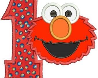 Elmo 1st Birthday Applique Design 3 sizes instant download