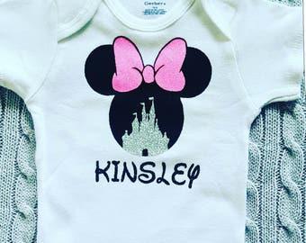 Personalized Disney shirt customized Disney shirt- Disney shirt with name- monogrammed Disney shirt- Minnie Mouse shirt- disney castle shirt