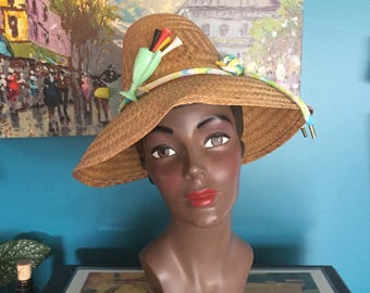 50's 60's Vintage Novelty Straw Sun Hat with Plastic Golf, Birdwatcher and Telephone Accents VIVA2017 VLV POOL PARTY!