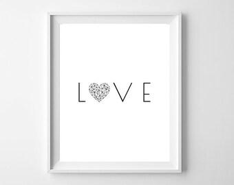 Love Print, Valentines Card, Love Poster, Love Printable, Home Decor Wall Art, Love Sign, Love Printable, Love Gift, Valentines Gift, Print