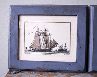 Three vintage French sailing ships lithographs / prints - in hand-painted frames