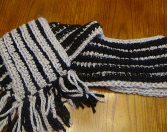 Gray and Black Striped Super Scarf