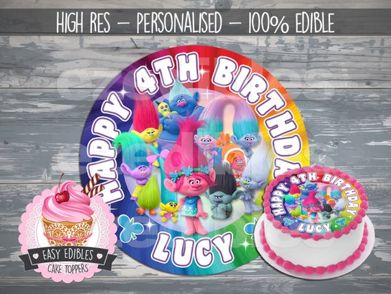 Trolls Personalized Birthday Cake Topper Edible