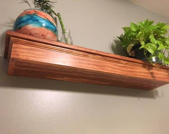 Custom Solid Wood Float Shelf with Dovetail Joinery