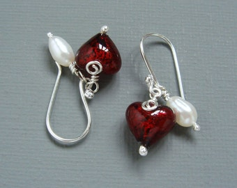 Murano Hearts Gift Sterling Silver and Natural Fine White Freshwater Pearl Drop Earrings Featuring 24 K Gold Lined Red Murano Hearts