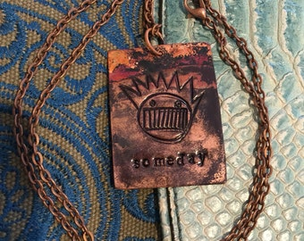 """Someday copper pendant with stamped boognish, letters and heat patina. Comes with gift box and a 1""""  ween button."""