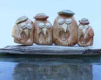 Cute Ceramic owls, Sleepy Owls #1