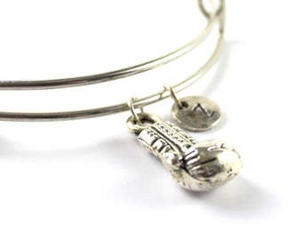 BOXING GLOVE bangle, silver boxing glove bracelet, boxing glove charm, initial bracelet, adjustable bangle, personalized jewelry, birthstone