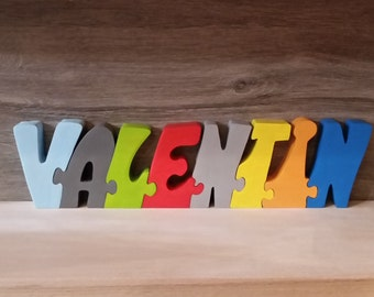 First name wooden puzzle Valentine's day letters