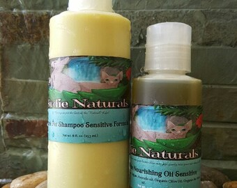 COMBO / Sensitive Pet Shampoo & Conditioner 100% Organic by Nudie Naturals and Bonus Bath Gloves