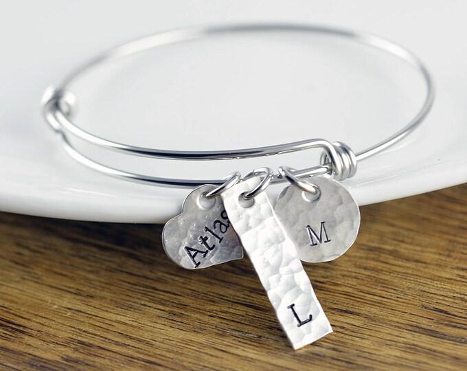 Personalized Bracelet - Silver Bangle Bracelet - Personalized Bracelet - Bangle Bracelet with Charms - Name Bracelet - Mothers Bracelet