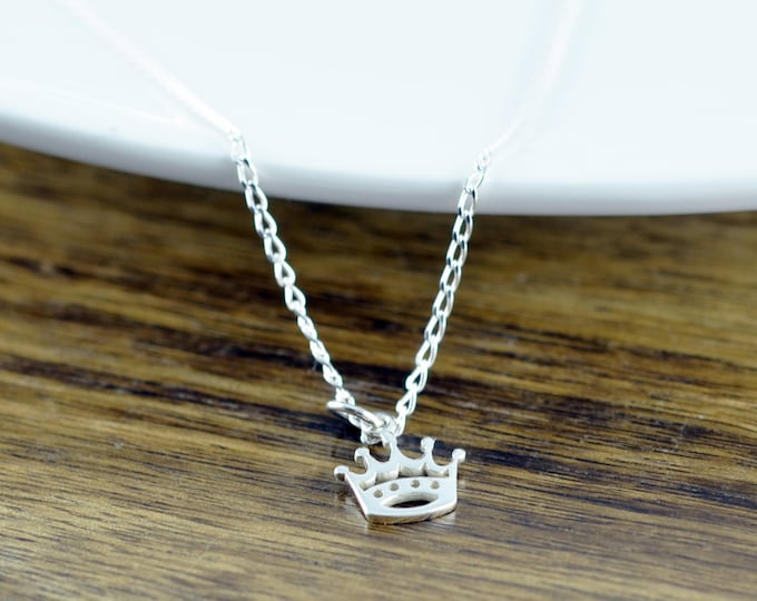 Princess Crown Necklace, Initial Silver Crown Necklace, Silver Initial Necklace, Crown Charm Necklace
