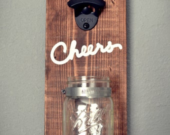Personalized Wall Mount Beer Bottle Opener with Mason Jar l Rustic Bottle Opener l Wall Mount Bottle Opener l Gift for Dad