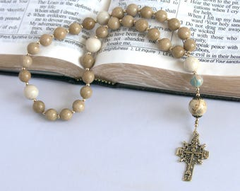 Anglican /Protestant Prayer Beads; Jasper, Coral, and Brass (APB003)