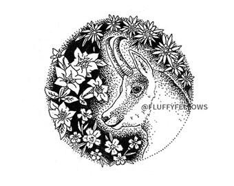 Deer Antler Art Print - modern ink art,floral art,botanicals,chamois,deer painting,forest animal,wall art,living room art,gentian,edelweiss