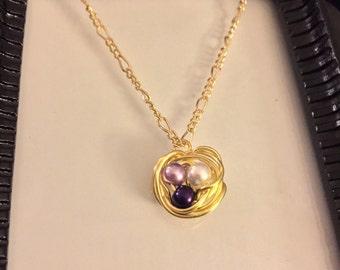 Gold nest necklace